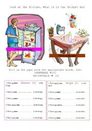 English Worksheet: part 2/2: countable,uncountable (food) -FRIDGE EXERCISE