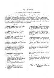 English worksheet: The Crucible Final Project