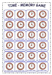 English Worksheet: TIME - MEMORY GAME