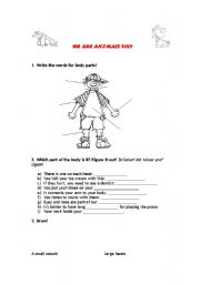 English Worksheets: WE ARE ANIMALS TOO