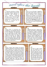 English Worksheets: and After the Break