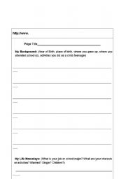 English Worksheets: Personal Introduction Blog Exercise