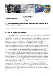 English Worksheet: Discrimination/Emigration