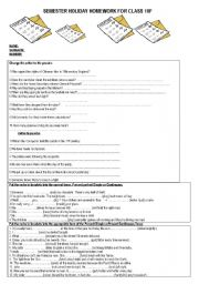 English Worksheets: HOMEWORK FOR SEMESTER HOLIDAY