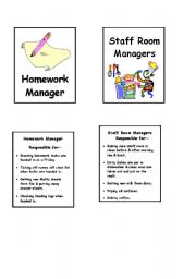 English worksheet: Duty cards for display 1