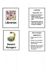 English Worksheets: Duty manager task cards