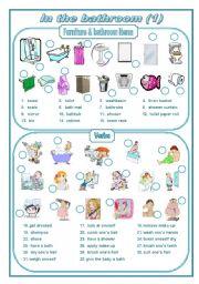 English Worksheet: In the bathroom 1 (editable)