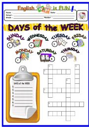 English Worksheet: Days Of the Week 2