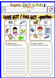 English Worksheet: Have Got /Has got interrogative form