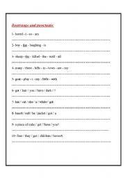 English Worksheets: rearrange