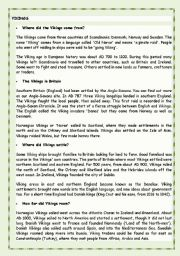 English Worksheet: Vikings