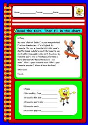 English Worksheets: READING COMPREHENSION AND WRITING TASK