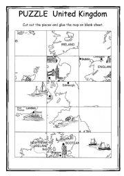 English Worksheet: Puzzle - Map of United Kingdom + key