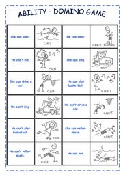 English Worksheets: ABILITY - DOMINO GAME