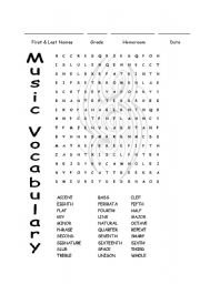 image regarding Music Word Searches Printable named English worksheets: Tunes Vocabulary Phrase Appear