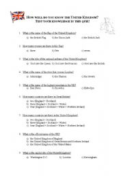 English Worksheet: How well do you know the United Kingdom? Test your knowledge through this quiz!!