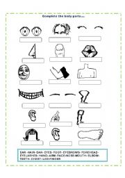 English Worksheet: Body Parts Fill in the blanks