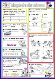 English Worksheets: talking about weather and seasons