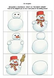 English Worksheet: BUILDING A SNOWMAN: WHAT IS THE RIGHT ORDER?-1