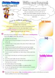 English Worksheets: The Writing Process Part 3: Writing Your Paragraph (3 pages + key)