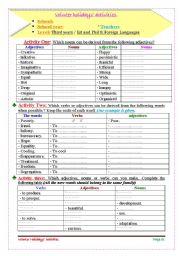 English Worksheets: Holiday�s activities