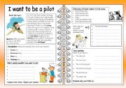 English Worksheet: Four Skills Worksheet - I want to be a pilot