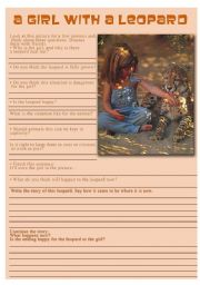 English Worksheets: A girl with a leopard