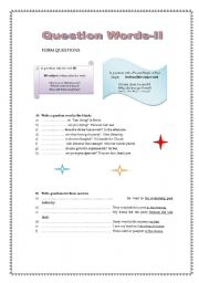 English Worksheets: Questions Words-part II