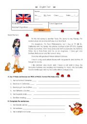 English Worksheet: Test - 5th grade