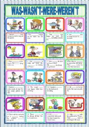 English Worksheet: WAS-WASN`T-WERE--WEREN`T (B&W version and KEY included) -FULLY EDITABLE