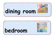 English Worksheet: Flashcards of the room in a house