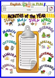English Worksheet: Months of the year 1