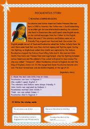English Worksheet: Pocahontas story ( reading comprehension)