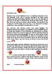 St Valentine´s Facts read, complete, wordsearch 2 pages