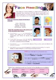English Worksheets: Face Reading (3 pages with answers)
