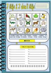 English Worksheets: LIKE & DON�T LIKE with ANIMALS