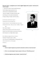 English Worksheet: 1930�s Langston Hughes Poem