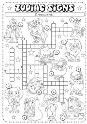 English Worksheets: Zodiac Signs (2/3) - Crossword