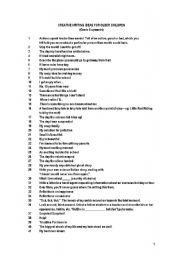 English Worksheet: List of Creative Writing topics for Juniors - 4 pages