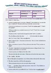 English Worksheet: ALL YOU NEED TO KNOW ABOUT: ANOTHER, OTHER, OTHERS, THE OTHER AND THE OTHERS: GRAMMAR GUIDE, ACTIVITIES AND KEY
