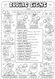 English Worksheets: Zodiac Signs (3/3) - description