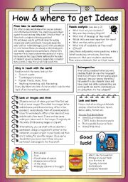English worksheet: How and where to get IDEAS