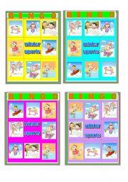 English Worksheets: BINGO WITH WINTER SPORTS