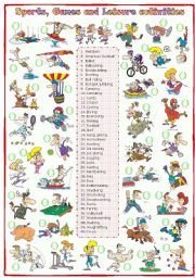 English Worksheet: Sports, games and leisure activities: Matching (1 of 2)