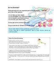 English Worksheets: Do you exercise?