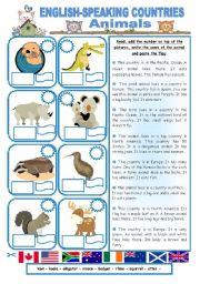 English Worksheet: ENGLISH-SPEAKING COUNTRIES (21) - Animals
