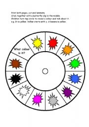 English Worksheet: colour spinner