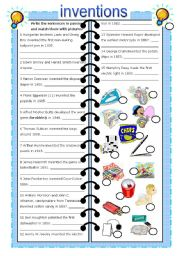 English Worksheets: inventions - past passive (with key)