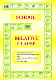 English Worksheet: School - Relative Clause - a boardgame (B/W) - editable