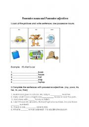 English Worksheet: possessive nouns and adjectives